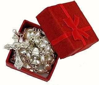 Hermoso color blanco corazón rosario en rojo caja de regalo–perfecto primera Navidad Rosario, bautismo, boda, compromiso, Memorial, aniversario, baby shower, 1st Navidad niños o niñas regalo