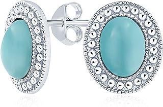 Classic Stabilized Blue Turquoise Onyx Semi Precious Gemstone Milgrain Bezel Halo Oval Stud Earrings For Women 925 Sterling Silver