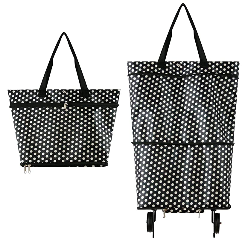 YOULIAN Shopping Bags with Wheels Two-stage zipper Foldable Shopping Cart Picnic Travel Bags Waterproof Processing Reusable