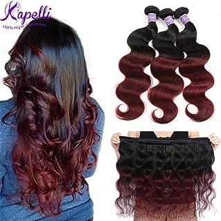 """Ombre Brazilian Hair Body Wave Bundles 3pcs,Ombre Brazilian Virgin Hair Human Hair Weave Two Tone Black to Burgundy (T1B/99J,14"""" 16"""" 18"""")"""