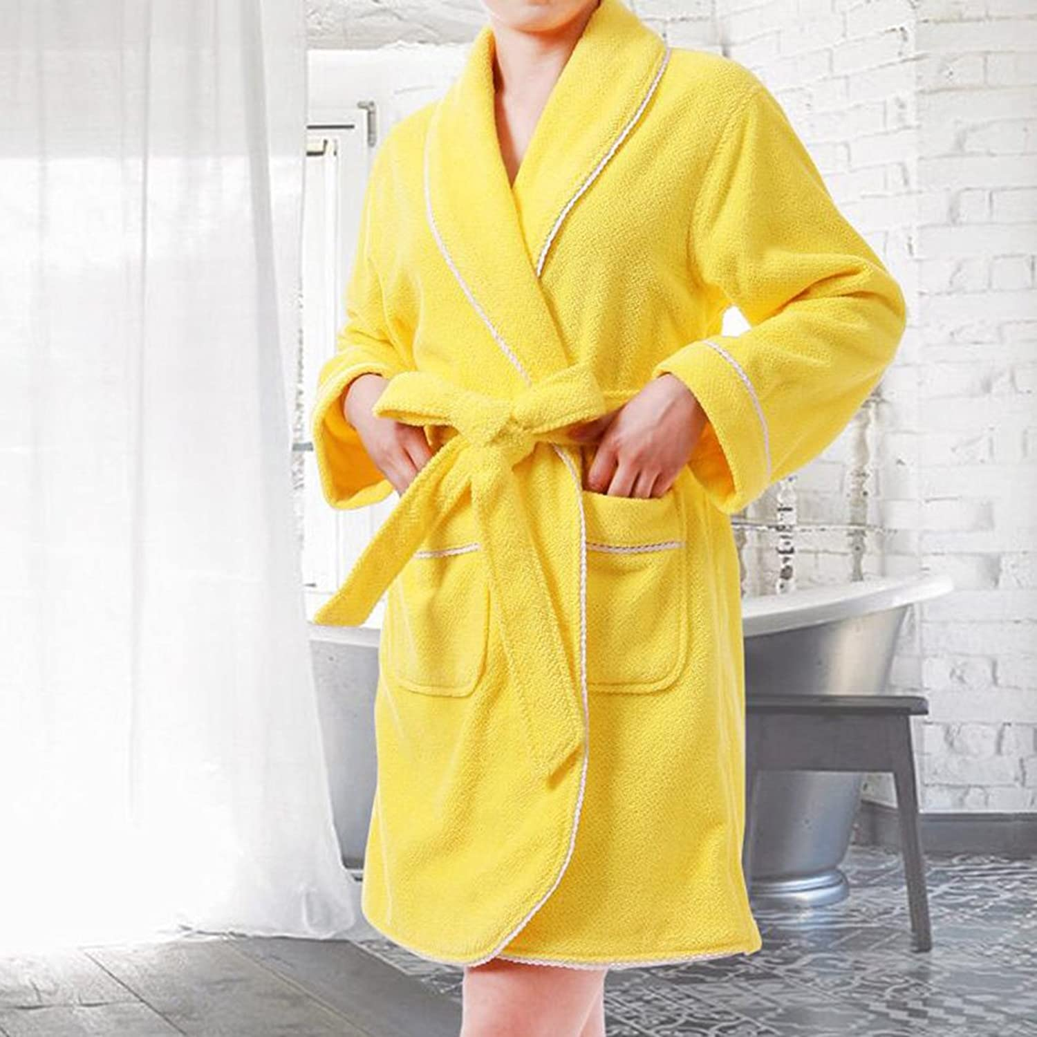 GJM Shop Cotton Ms Bathrobe Towel Material Nightgown Adult Water Absorption Home Clothes (color   Yellow)
