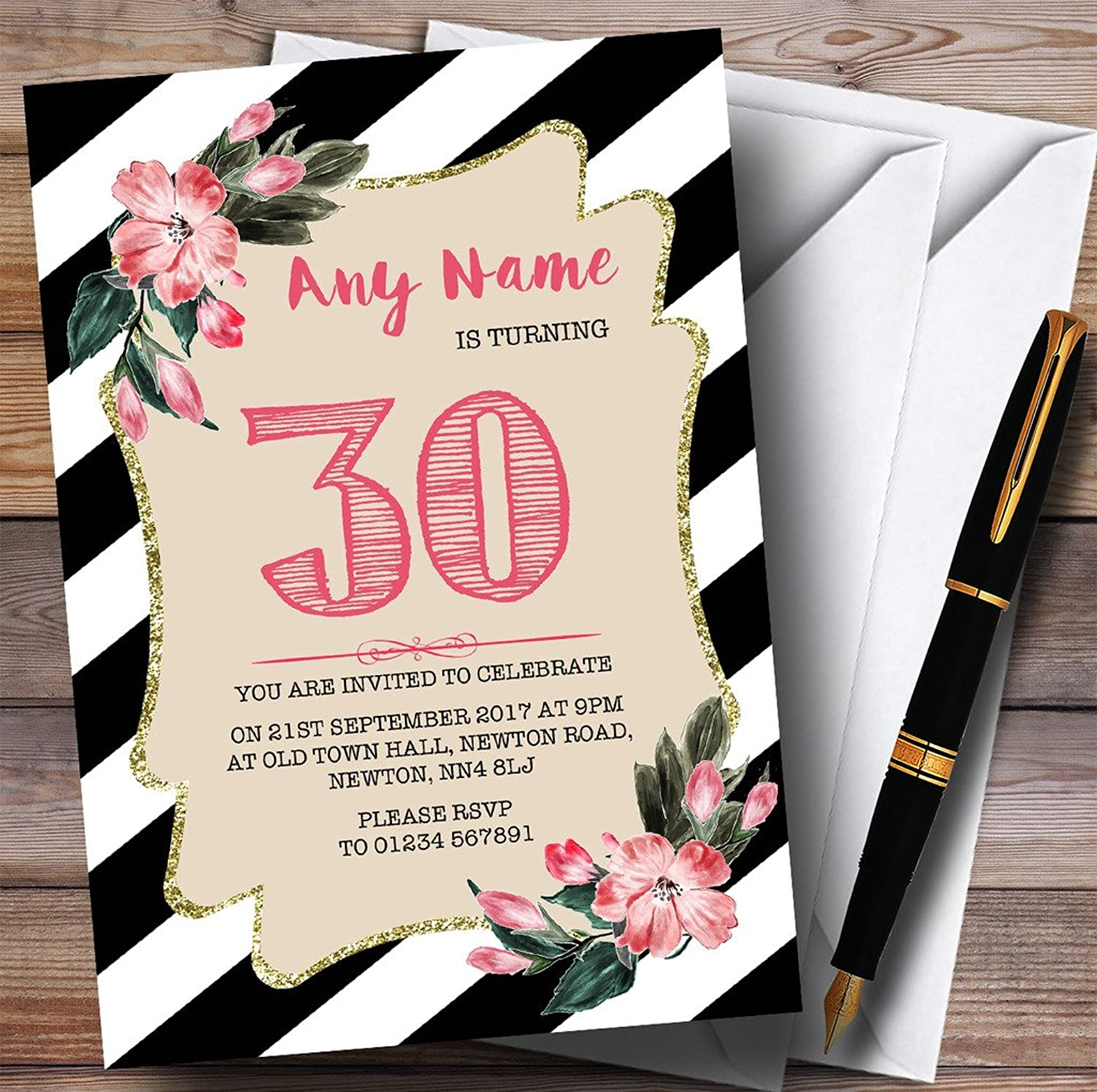 Black & White Striped Pink Flower 30th Personalised Birthday Party Invitations