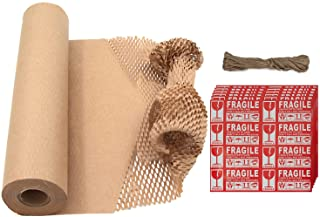 """Ecoducer 15""""x164' Honeycomb Packing Paper for Moving Breakables or Shipping, plus Fragile Stickers. Eco Friendly Products ..."""