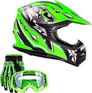 Typhoon Youth Kids Offroad Gear Combo Helmet Gloves Goggles DOT Motocross ATV Dirt Bike MX Motorcycle Green (Small)