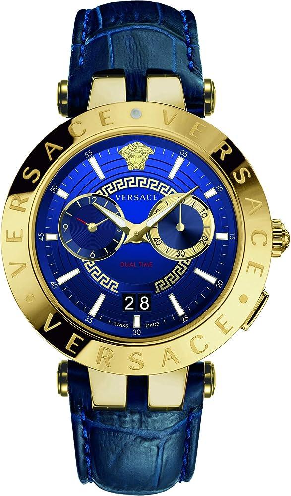 Versace v-race orologio da uomo con cassa in acciaio inossidabile e cinturino in vera pelle VEBV00219