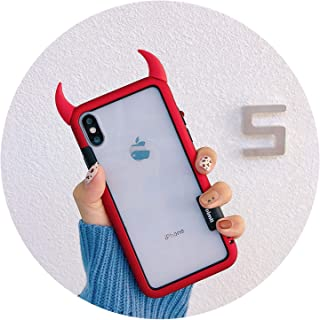 Cute 3D Devil Horns Phone Case for for iPhone 10 X XR XS Max Hard Acrylic Transparent Back Cover for iPhone Xs 6s 7 8 Plus Case,Red,for iPhone X XS