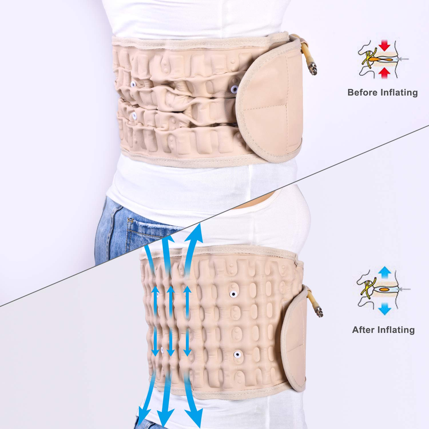 2019 Upgraded Version GZDL Decompression Back Support Belt for Men & Women, Back Brace Back Pain Lower Lumbar Support, Spinal Air Traction Belt (for 29 inches to 49 inches Waists)