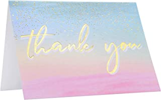 [60 Pack] Thank You Cards -Elegant Watercolor Thank Cards with Gold Sprinkles Background & Gold Foil Letters -Baby Shower, Business, Wedding Thank You Cards- With 60 Envelopes- 3.75 x 5 inch (60 Pack)