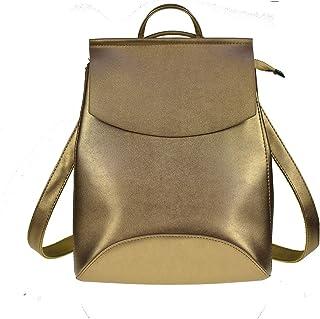 Women Backpack PU Leather Backpacks for Teenage Girls Female School Shoulder Bag Mochila,Purple-Gold-OneSize