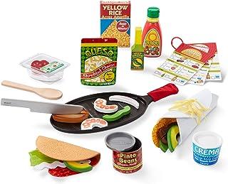 Melissa & Doug Fill & Fold Taco & Tortilla Set (Play Food, Sliceable Wooden Mexican Play Food, Pan & More, 43 Pieces, Grea...