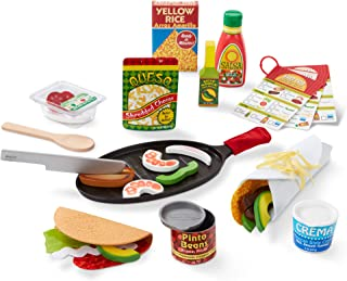 Melissa & Doug Fill & Fold Taco & Tortilla Set (Play Food, Sliceable Wooden Mexican Play Food, Skillet & More, 43 Pieces, Great Gift for Girls and Boys - Best for 3, 4, 5 Year Olds and Up)