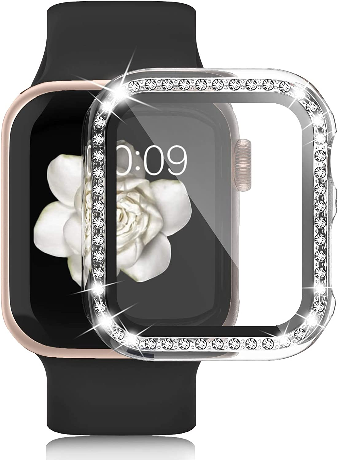 Apple Watch Case with Tempered Glass Screen Protector for iWatch 44mm Series 6/5/4/SE, Anti-Scratch Hard PC Bumper Full Body Cover Bling Diamond Rhinestone Frame for Women Girls Accessories