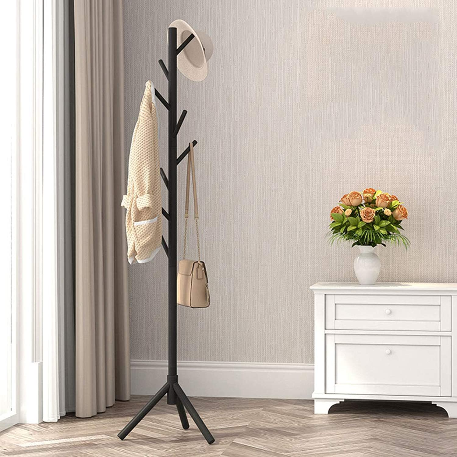 8 Hooks Coat Tree Entryway Standing for Clothes,Solid Wood Coat Rack Stand,for Jacket Purse Scarf Rack-B 45x172cm(18x68inch)