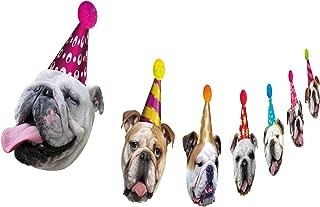 Dog Birthday Garland, Funny English Bulldog Face Portrait Birthday Banner, Bday Party Decoration