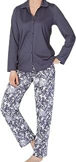 Calida Long Sleeve Cardigan Cotton Knit Pajama Set in Mystic Slate