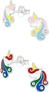 Set of 2 Pairs Hypoallergenic Sterling Silver Unicorn Stud Earrings for Little Girls (Rainbow Unicorn)