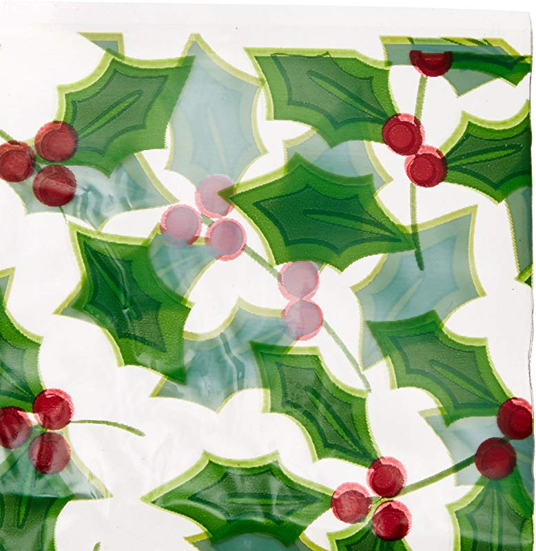 Holly Christmas Multicolored Cookie Tray Bags 6 Ct Party Supply