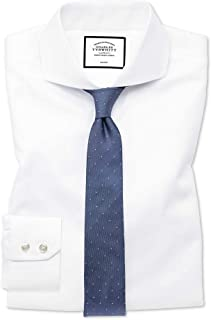 b30505b4f4 Extra Slim Fit Extreme Cutaway Non-Iron Twill White Cotton Formal Shirt  Double Cuff by