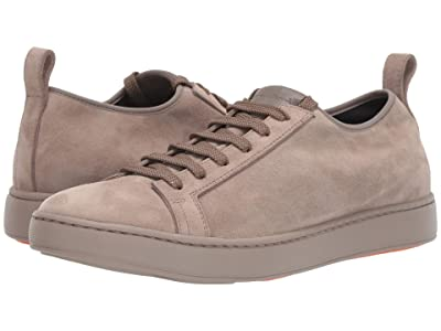 Santoni Cleanic Stretch Suede Lace-Up Sneaker (Beige) Men