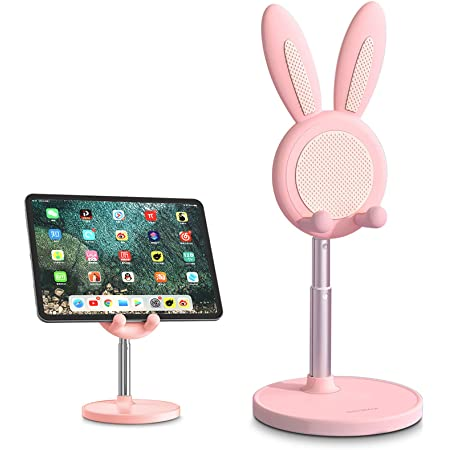 Cute Bunny Phone Stand, iPhone Stand for Desk, Angle Height Adjustable Cell Phone Holder Stand for Desk, Kawaii Desk Decor Accessories, Compatible with iPhone, ipad, Pixel, Switch, All Phones (Pink)