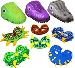 Dinosaur Party Hats and Masks 12 Foam Molded Dinosaur Hats, and 12 Dinosaur Masks, Masquerade Halloween Birthday Decorations Party Supplies Costume Headwear for Kids Boys Girls & Adults 4E's Novelty