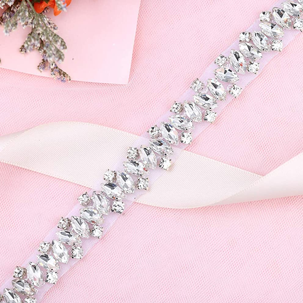 1 Yard Rhinestones-Trim-Applique Crystal Belts for Dresses Applique Trim Sequin Appliques for Wedding Dresses with Rhinestones mgyganffv1