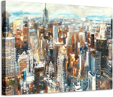 Abstract City Painting Wall Art - Hand-painted Textured Colorful New York Skyline Buildings Picture Artwork for Bedroom( 36&#