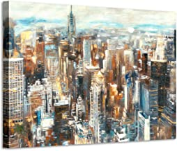 Abstract City Painting Wall Art - Hand-Painted Textured Colorful with Gold Foils Embellishment New York Skyline Buildings ...