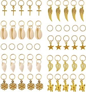 Honbay 50PCS Golden Leaves Wings Stars Conch Shell Snowflake Cross Turtle Pendant Charms Rings Set DIY Hair Decoration Rings Braid Rings Hair Loop Clips Hair Accessories