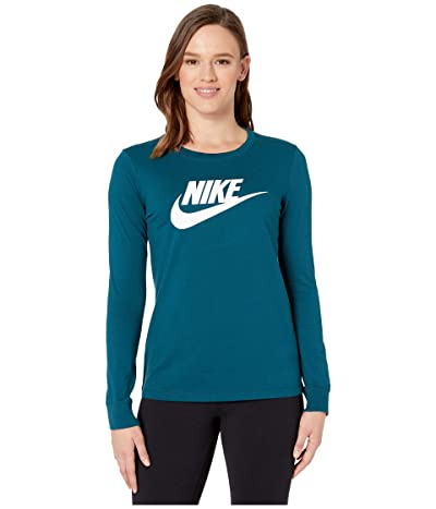Nike NSW Tee Essential Long Sleeve Icon Futura (Midnight Turquoise/White) Women