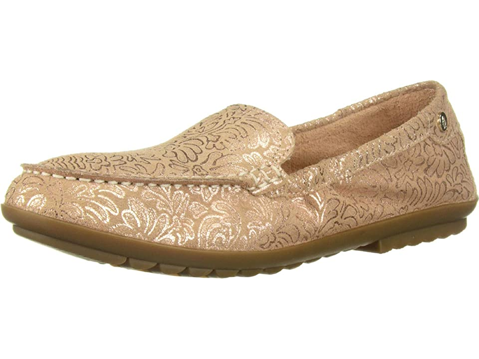 Hush Puppies Aidi Mocc Slip-On (Pale Peach Metallic Print Leather) Women's Slip on Shoes, Gold