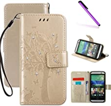 HTC One M8 Case, LEECOCO Embossed Floral 3D Handmade Bling Crystal Diamonds Butterfly with Card Slots Magnetic Flip Stand PU Leather Wallet Case for HTC One M8 Wishing Tree Gold