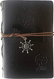 Vintage Refillable Journey Diary,Zelda Sheikah Art Premium PU Leather Classic Travel Journal Notebook with Card Holder and Retro Pendants (Zelda-Brown)