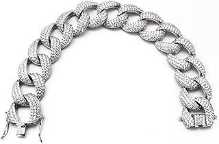 Fancy Italian Jewels Bracciale da Donna Catena Cubana in Argento 925 con Zirconi Bianchi Made in Italy