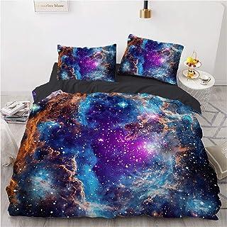 KPWHJT Motif Ciel étoilé Housse De Couette, 3D Galaxy Univers Parure De Lit avec Housse De Couette Et Taie d'oreiller 220x...