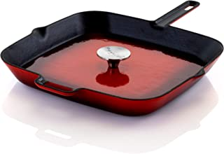 Megachef Enamel Cast Iron Pan with Matching Grill Press, 11 Inch, Red