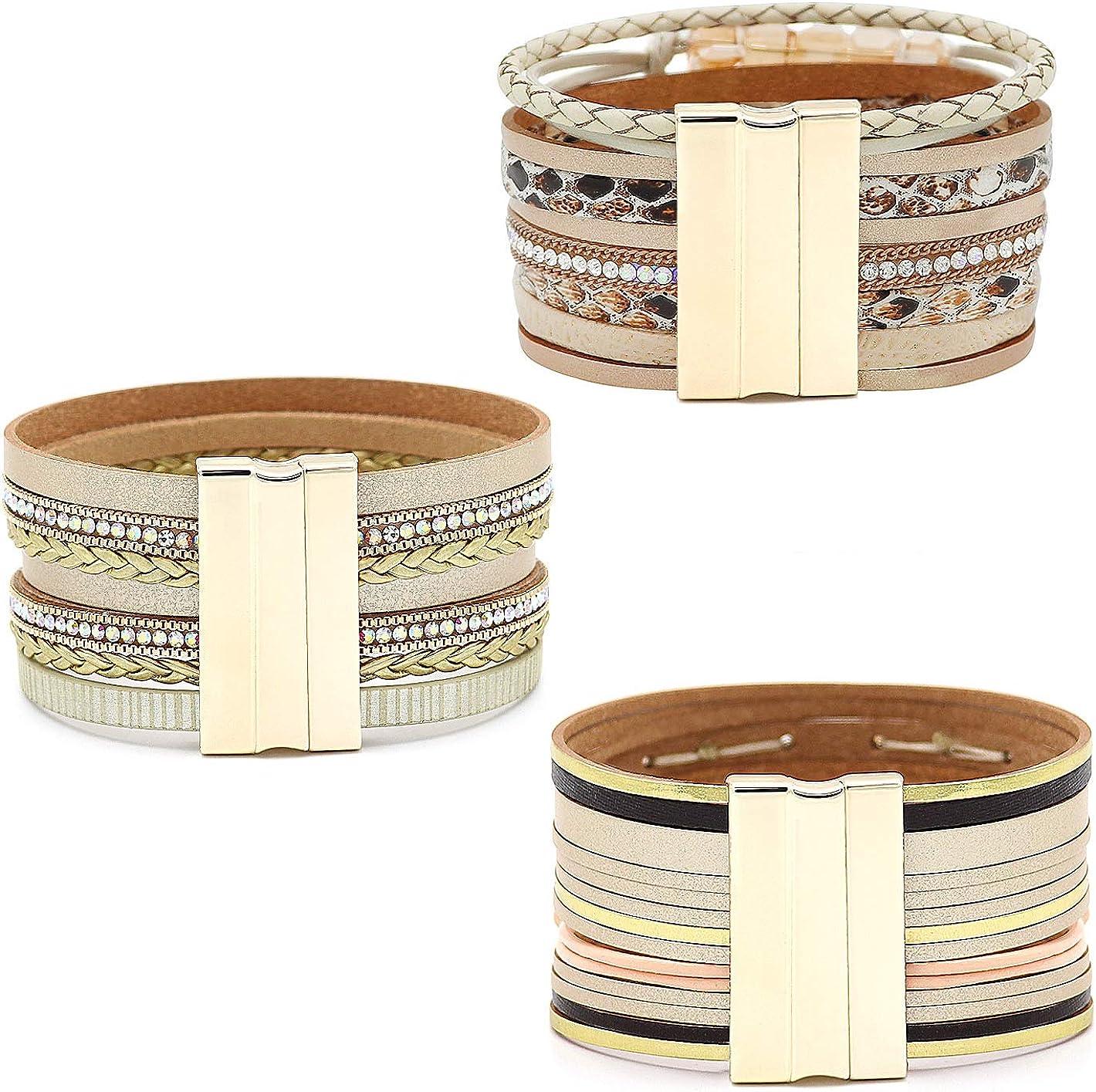 Wowanoo 3Pack Leather Cuff Bracelet Set Multilayer Wrap Bracelet Crystal Feather Tree Bracelet Magnetic Clasp Bracelet for Women