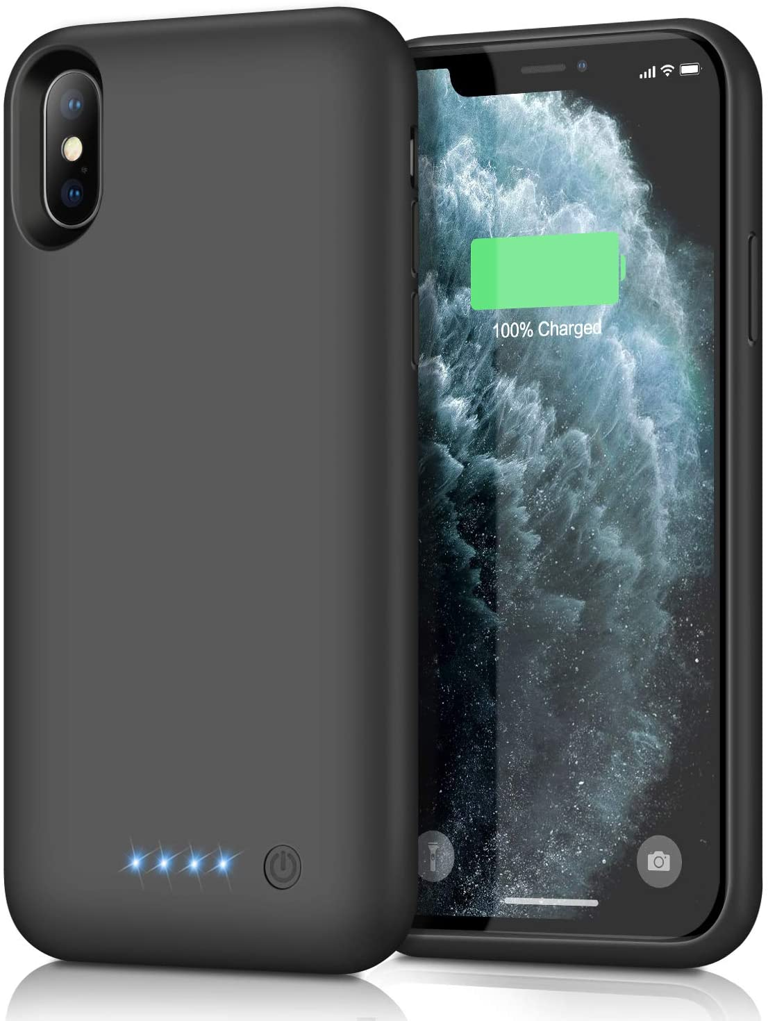 Feob Battery Case for iPhone Xs max, Upgraded7800mAh Portable Charging Case Extended Battery Pack for iPhone Xs Max [6.5 inch] Protective Charger Case - Black