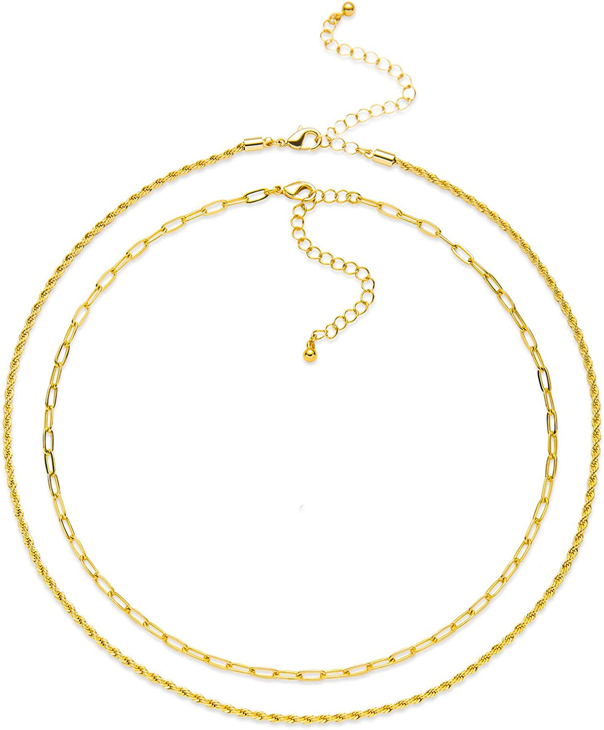 LANE WOODS Gold Chain Set: 14k Gold Plated Layered Dainty Paperclip Rope Chain Necklace Jewelry Gifts for Women Girls Teens