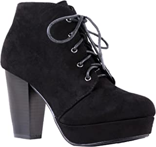 Women's Ankle Boots Lace Up Block Chunky Heel Dress Booties Comfort Party Shoes CM86