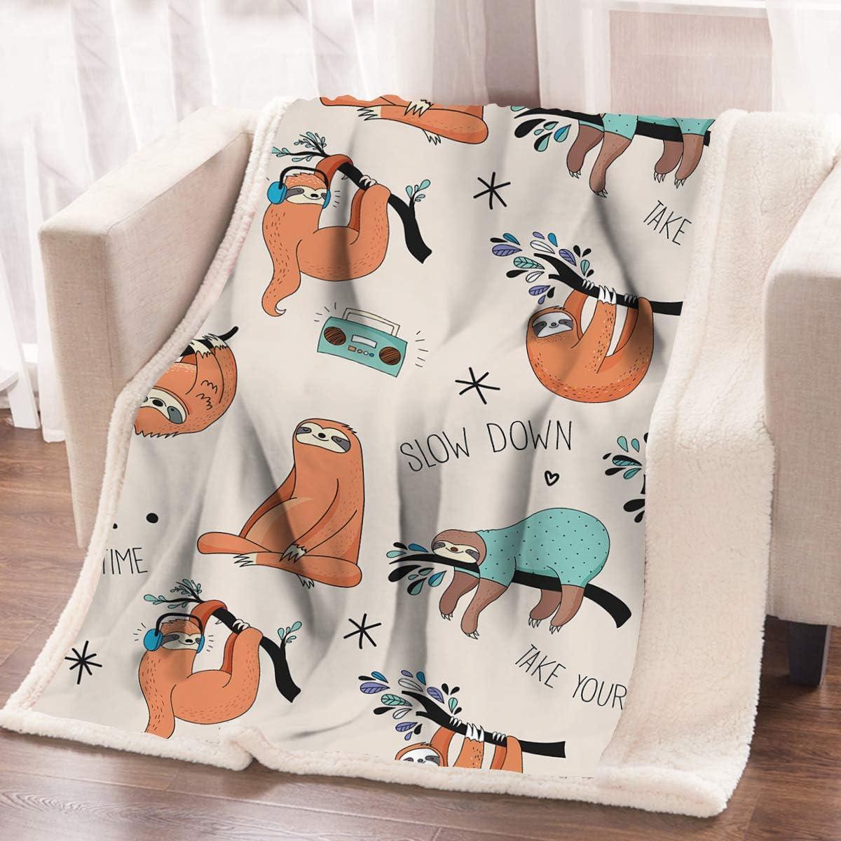 ARIGHTEX Sloth Charlotte Mall Blanket Soft Atlanta Mall Fleece Throw Orange H Sloths