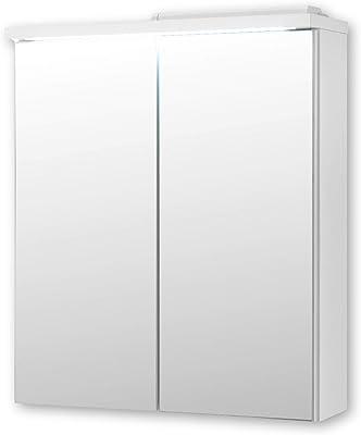 Stella Trading Pool Miroir Salle de Bain avec lumière LED en Blanc-Armoire de Toilette Moderne avec Beaucoup d'espace de Rangement, Engineered Wood, 60 x 68 x 20 cm