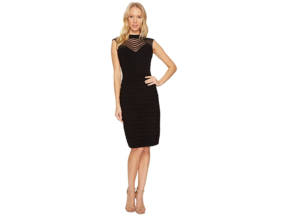 Adrianna Papell Banded and Soutache Sheath Dress (Black) Women