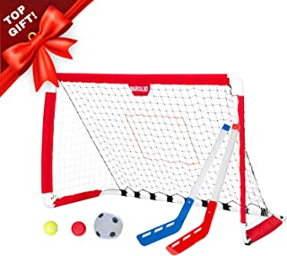 Soccer Goal and Pitchback - 3 in 1 Sports Net with Soccer Ball, Pitchback Ball, Hockey Puck & Hockey Sticks