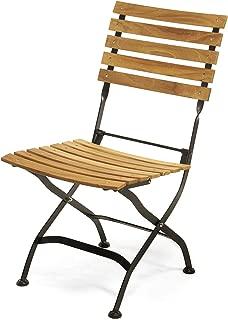 Sunset Garden Natural Teak Wood & Black Steel | Miya Outdoor Folding (Set of 2) Chairs for Patio Deck Backyard Furniture, Black