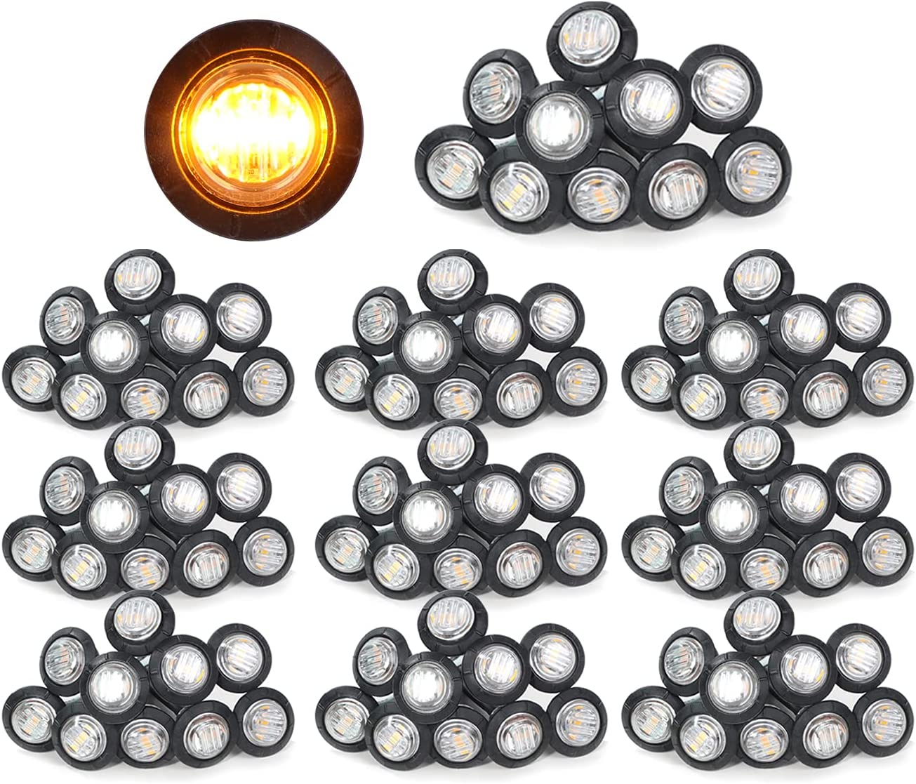 MADCATZ Pack Store of 100 3 Bombing new work 4 Inch Round LED 2835 Lens Clear Amber
