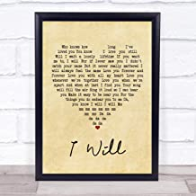 """123 BiiUYOO The Beatles I Will Vintage Heart Song Lyric Print 14"""" x 12"""" Inches"""