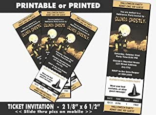 Haunted House Halloween Party Ticket Invitation, Printable or Printed Option