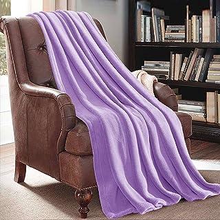 "JML Plush Throw Blanket 50"" x 60"", Plush Soft Fleece Blanket –Solid Color Violet, Lightweight All Season Couch Sofa Blanket"