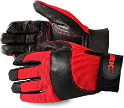 AIRIC Durable Natural Leather Heavy Duty Mechanic Work Gloves,Winter Warm,Firm Grip,High Dexterity for Working,Construction,Tactical, Mechanic, Duty and General Utility (L)